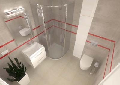 Ogólny rzut łazienki zaprojektowanej przez  Mobiliani Design.