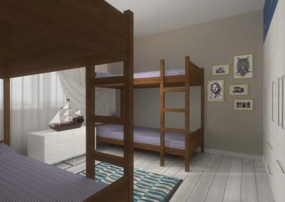Zaprojektowane wnętrze pokoju dziecięcego z łóżkami piętrowymi w stylu marynistycznym przez Mobiliani Design w Bydgoszczy.