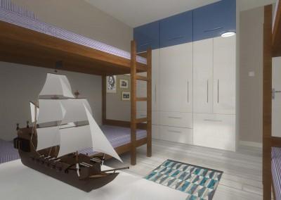 Marinistyczny pokój dziecięcy z łóżkami piętrowymi zaprojektowany przez Mobiliani Design w Bydgoszczy.