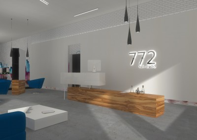 Część recepcyjna w projekcie wnętrza salonu fryzjerskiego w Bydgoszczy.