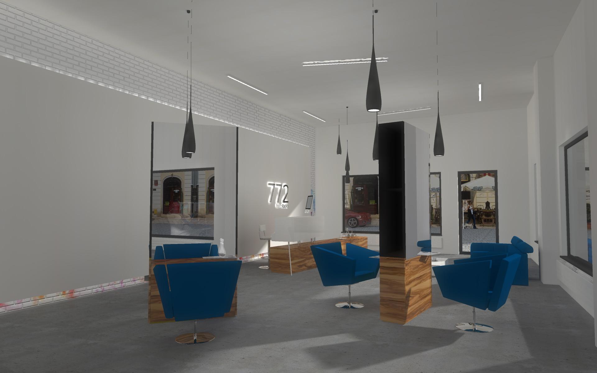 Projekt wnętrza salonu fryzjerskiego w Bydgoszczy - Mobiliani Design Bydgoszcz