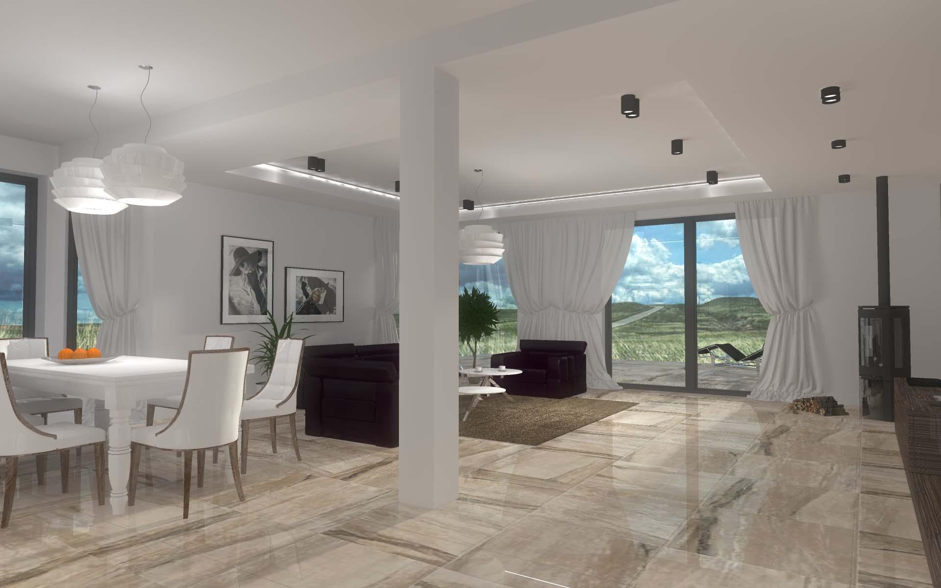 Projekt wnętrza salonu z aneksem kuchennym