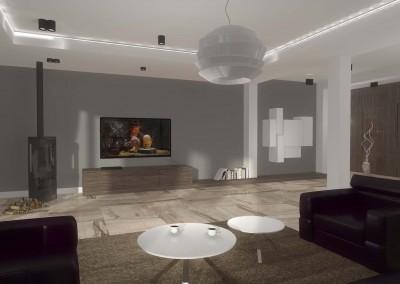 Wnętrze salonu dla domu zawiera nowoczesne meble i elementy