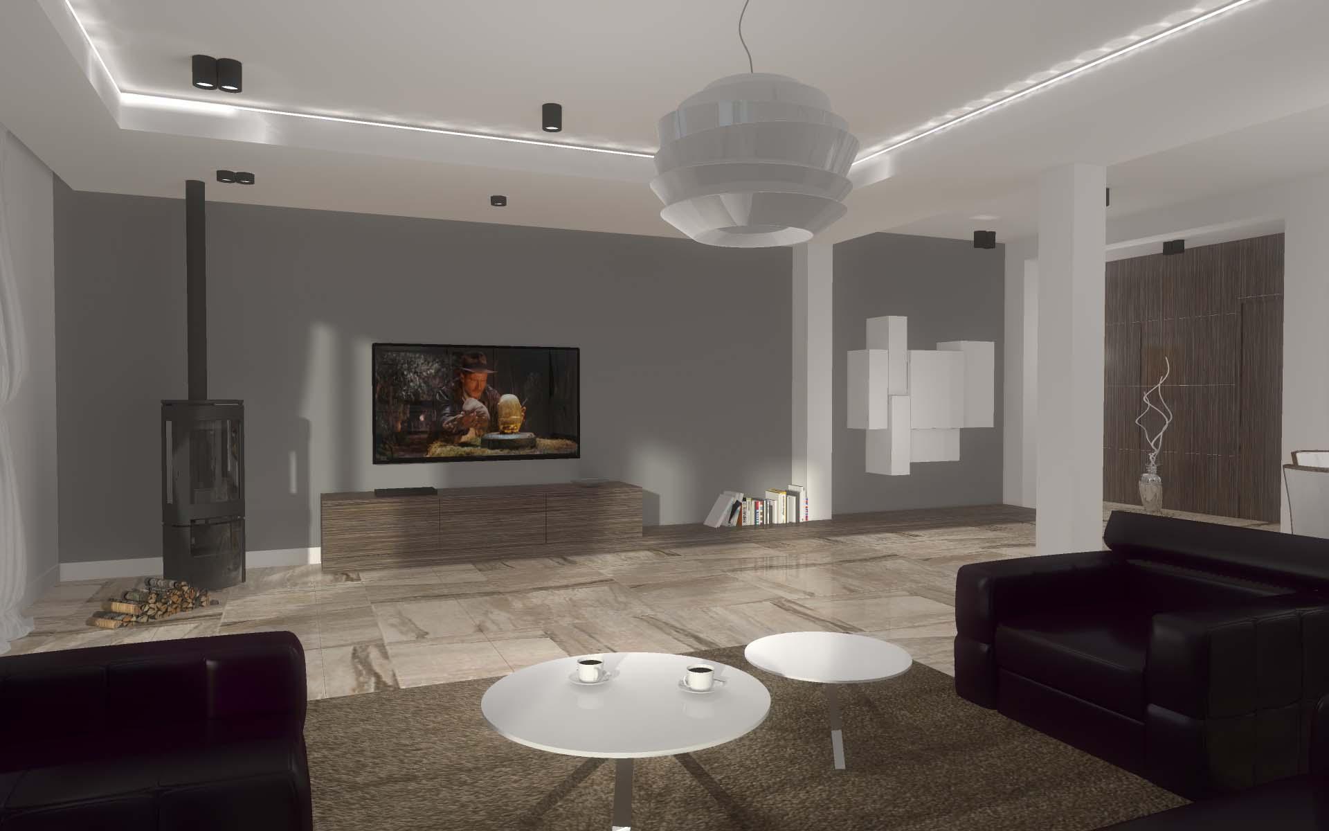 projekt wnętrza salonu z aneksem kuchennym mobiliani