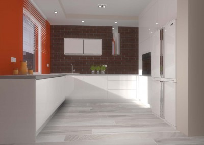 Wnętrza kuchni i łazienki w apartamencie prywatnym.