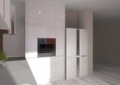 Projekt ściany meblowej w zabudowie kuchennej dla nowoczesnego apartamentu.