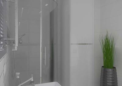 Wnętrze łazienki z prysznicem  - projekt.