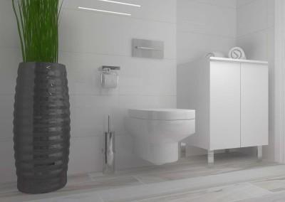 Ściana z toaletą - aranżacja wnętrza jasnej łazienki.