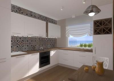 Projekt wnętrza jasnej kuchni w bloku z fototapetą