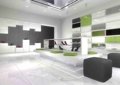 Nowoczesne wnętrze showroomu dla kolekcji butów Baldini