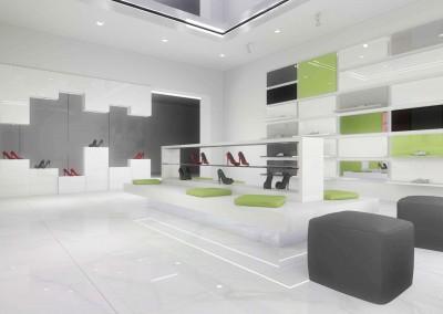 Ściana projektu wnętrza dla ekspozycji butów.