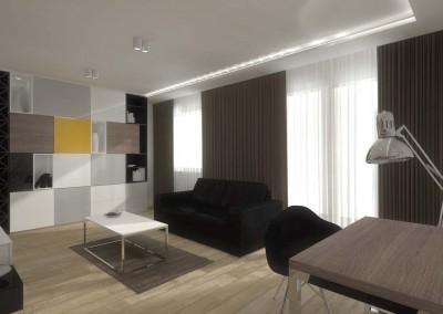 salon w projekcie mieszkania pokazowego.