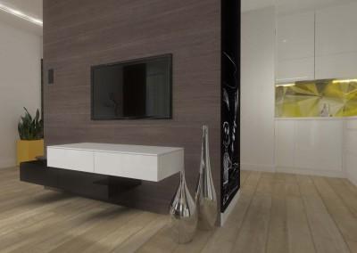 Ściana telewizyjna w części salonu, Mobiliani Design.