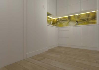 Stylowa, kuchnia zaprojektowana z wykorzystaniem designerskiego nadruku na szkle między szafkami kuchennymi.