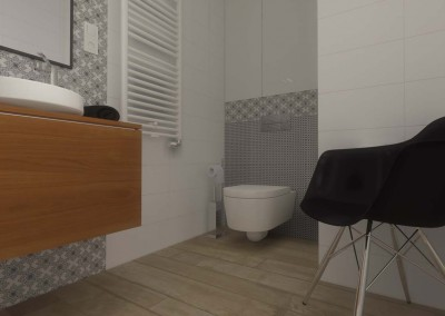 Toaleta w przestrzeni nowoczesnej łazienki.