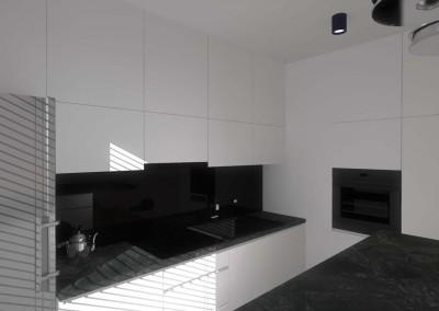 Projekt wnętrza kuchni z czarnym blatem.