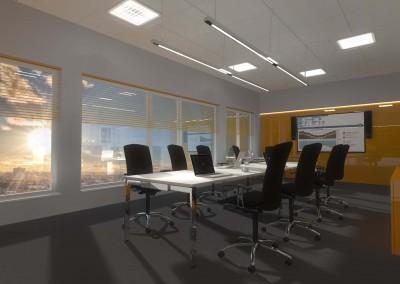 Projekt sali konferencyjnej w biurze.