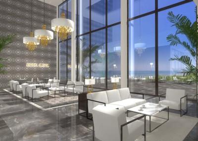 Poczekalnia w projekcie wnętrza nowoczesnego hotelu ze strefą spa - projektowanie wnętrz Mobiliani Design.