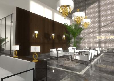 Aranżacja wnętrza hotelu ze strefą Spa - kanapy ze stolikami kawowymi w Bydgoszczy.