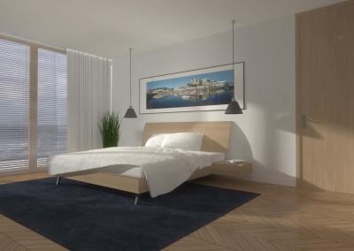 Nowoczesna i jasna sypialnia w stylowym projekcie.