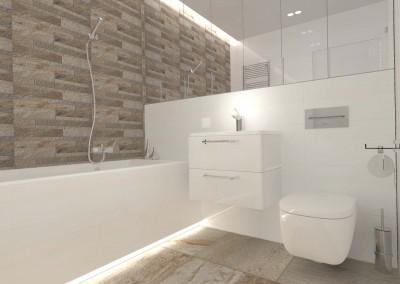 Jasne meble oraz armatura łazienkowa w aranżacji przestrzeni hotelowej łazienki od projektanta.