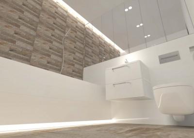 Rzut prezentujący sufit oraz meble w łazience hotelu.