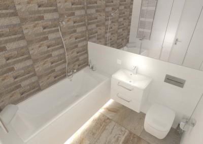 Rzut na wnętrze projektu łazienki z góry.