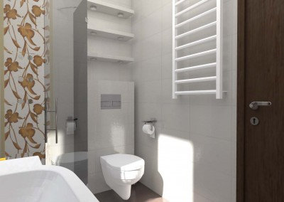 Projekt toalety w pokoju hotelowym.