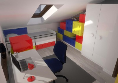Zaprojektowana przestrzeń pokoju zlokalizowanego na poddaszu.