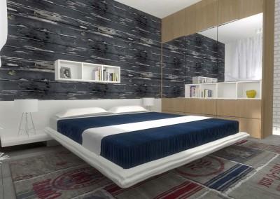 Projekt sypialni w morskim klimacie.