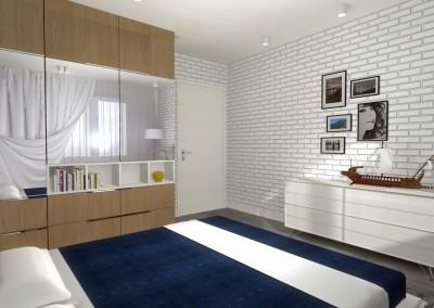 Projekt sypialni - ściana z drzwiami wejściowymi.