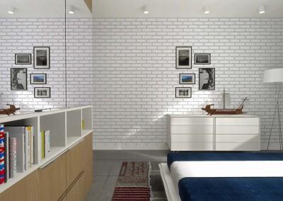 Designerska ściana w projekcie sypialni apartamentu Kropla Beskidu.