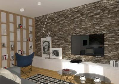 Część salonowa wnętrza zaprojektowanego przez Mobiliani Design.