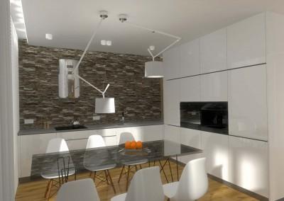 Projekt jadalni z nowoczesnym stołem oraz miejscami dla 6 osób.