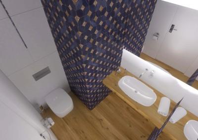 Toaleta w projekcie wnętrza apartamentu z mocnym fioletem.