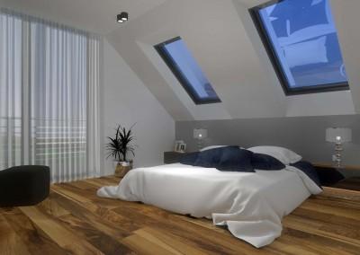 Widok na łóżko w sypialni
