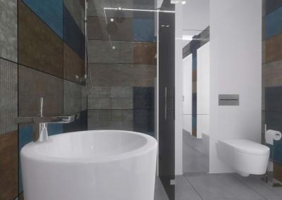 Projekt łazienki w oryginalnym stylu.