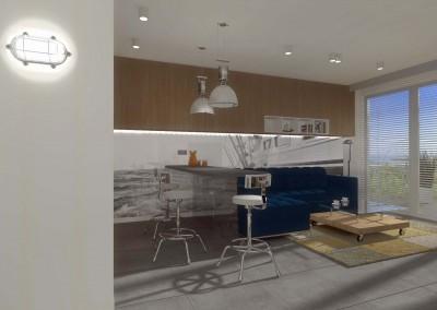 Salon z aneksem kuchennym w projekcie apartamentu.