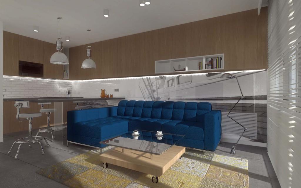 Projekt wnętrza apartamentu z aneksem kuchennym