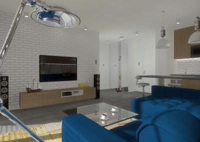 Wnętrze otwartego salonu apartamentu - Mobiliani Design.