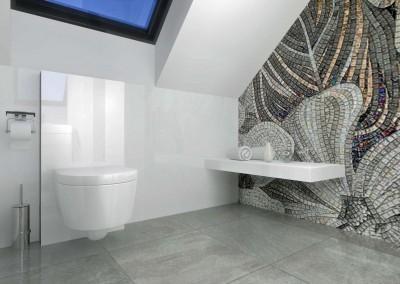 Łazienka posiada także stylowy sedes i jest utrzymana w minimalistycznym stylu