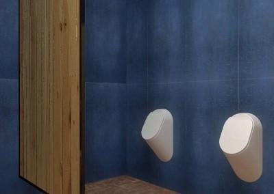 Wnętrze męskiej toalety - aranżacja wnętrz.