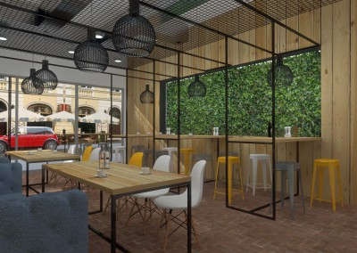 Projekt wnętrza kawiarni w Bydgoszczy.