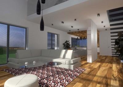 Jedna z wersji aranżacji przestronnego salonu domu w Bydgoszczy