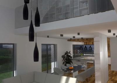 Nad salonem, na piętrze, umieszczono bibliotekę. W tle widać wnętrza kuchni.