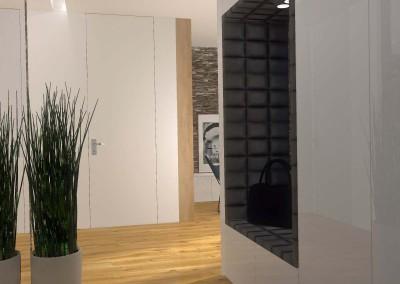 Projekt wnętrza przedpokoju otwartego na salon oraz wnętrze z przestrzenią kuchenną.