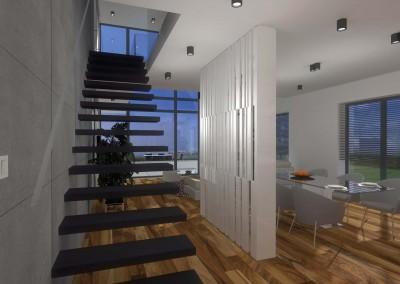 Projekt wnętrz uwzględnia designerskie schody prowadzące na piętro