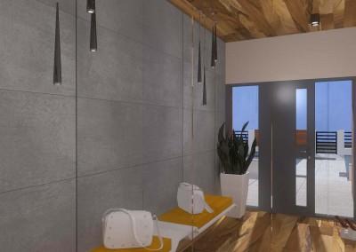 Projekt wnętrza przedsionka z duży m lustrem oraz eleganckimi, obitymi skórą siedziskami