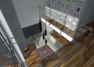 Projekt wnętrz salonu i ciekawie umiejscowionej biblioteki