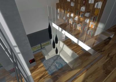 Salon i biblioteka w innej aranżacji